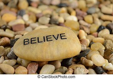stein, bestätigung, glauben