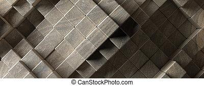 stein, elemente, pattern., abbildung, form, würfel, hintergrund, beschaffenheit, block, 3d
