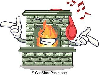 stein, flamme, zuhören, musik, kaminofen, karikatur