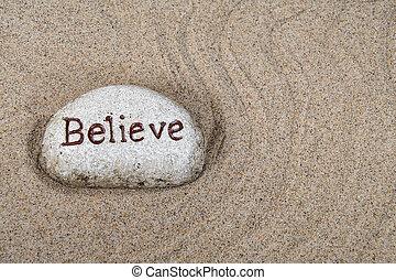 stein, glauben, wort, sand