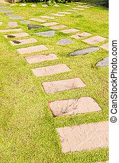 stein, gras, grün, kleingarten, fußweg