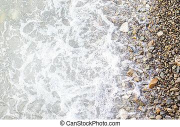 stein, sandstrand, hintergrund, meer