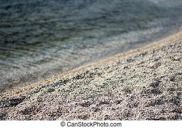 stein, sandstrand, meer, hintergrund, wellen