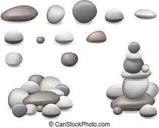 stein, satz, freigestellt, kieselsteine