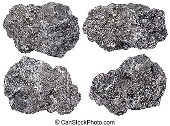 stein, satz, mineral, freigestellt, graphit, stück