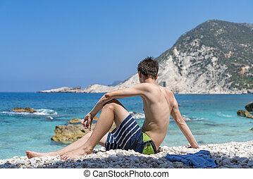 stein, sitzen, junges schauen, meer, sandstrand, mann