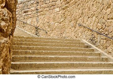 stein, uralt, treppenaufgang