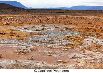stein, wüste, an, geothermisch, bereich, hverir, island