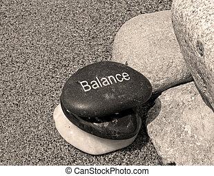 steine, 3, gleichgewicht, geätzt, eins