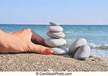 steine, auf, einander