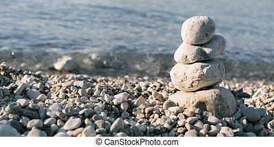steine, blauer hintergrund, aus, haufen , meer, kiesel