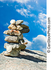 steine, blauer stein, towers., himmelsgewölbe, aus, zen, zwei, meditation, stapel