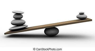 steine, gleichgewicht, 3d