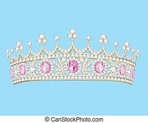 steine, gold, diadem, abbildung, frauen, kostbar, tiara