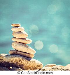 steine, kieselsteine, weinlese, gleichgewicht, hintergrund, stapel