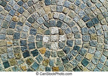 steine, konzentrisch, pflastern