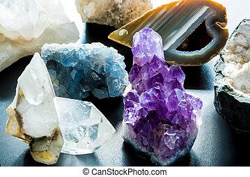 steine, kostbar, halb