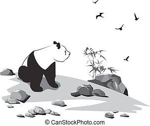 steine, panda, vögel