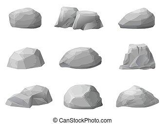 steine, satz, felsblöcke, steinen