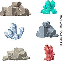 steine, satz, mineralien, vektor, karikatur