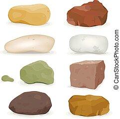 steine, satz, steinen, felsblöcke