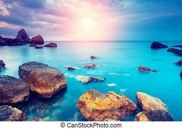 steine, sonnenuntergang, meer