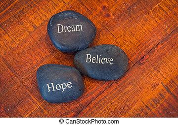 steine, traum, wörter, hölzern, inspirational, schwarzer hintergrund, kiesel, glauben, hoffnung
