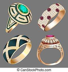 steine, weinlese, ring, satz, kostbar