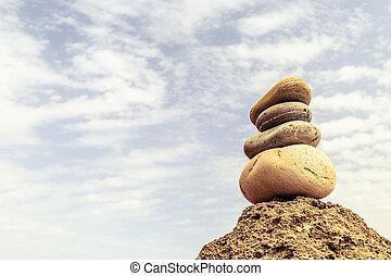 steine, wohlfühlen, begriff, gleichgewicht, inspiration