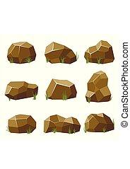 steine, wohnung, isometrisch, satz, natürlich, game., verschieden, abbildung, steinen, groß, hintergrund., vektor, felsblöcke, hintergrund, formen, weißes, gras, style., landschaftsbild, 3d