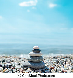 steine, zen-wie, sandstrand