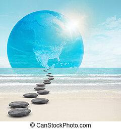 steine, zen-wie, straße, erde
