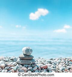 steine, zen-wie, strand., weicher fokus