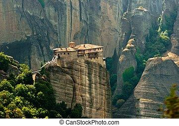 steingebäude, gebaut, auf, a, berg