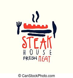 stek, dom, freash, mięso, logo, rocznik wina, etykieta, w, czerwony, i błękitny, kolor, ręka, pociągnięty, wektor, ilustracja