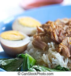 stek, fläsk, ris