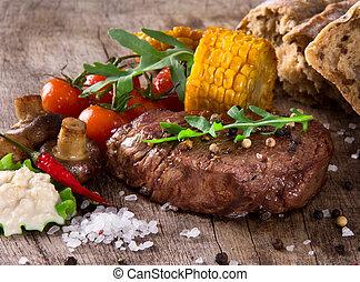 stek, zachwycający, wołowina
