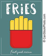 steka, käpp, fransk, potatis