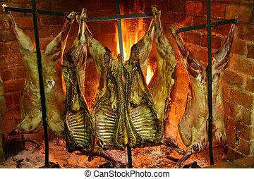 stekande, kött