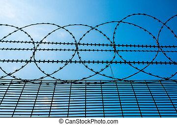 stekelig hek, hoog bovenst, draad