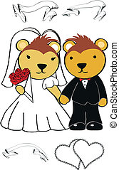 stekelvarken, schattig, set, spotprent, trouwfeest