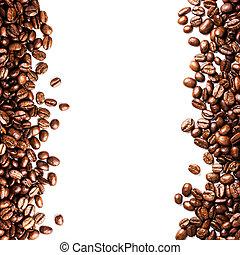 steket, kaffe böna, bakgrund, isolerat, vita, bakgrund., clo