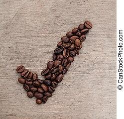 steket, kaffe böna