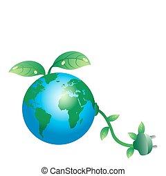 stekker, aarde, groene