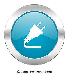 stekker, blauwe , internetten ikoon