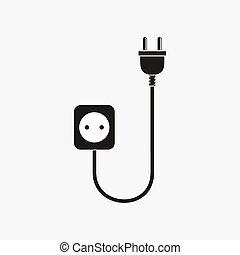 stekker, draad, contactdoos, -, vector, illustration.