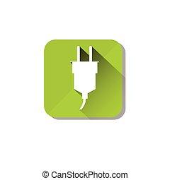 stekker, eco, milieu, elektrisch, schoonmaken, groene, care, pictogram