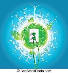 stekker, groene, concept, energie