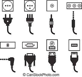 stekker, set, elektrische afzetgebied, iconen