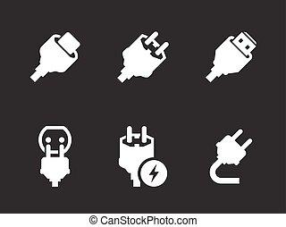 stekker, set, iconen